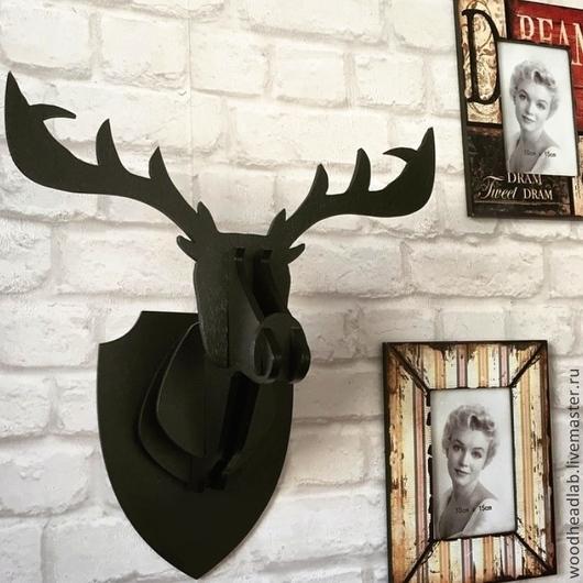 Животные ручной работы. Ярмарка Мастеров - ручная работа. Купить Голова Оленя (чёрная). Handmade. Черный, олень, подарок охотнику