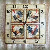 Подарки к праздникам ручной работы. Ярмарка Мастеров - ручная работа часы настенные Прованские петушки. Handmade.