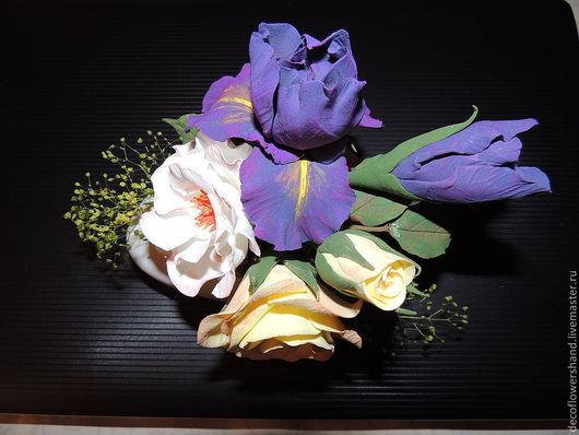 Цветы ручной работы. Ярмарка Мастеров - ручная работа. Купить Букет с ирисом. Handmade. Полимерная глина, полимерная глина deco