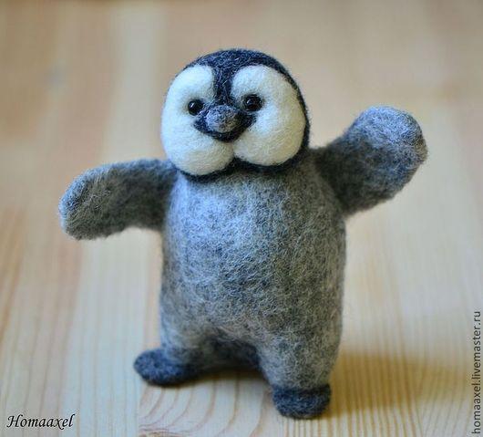 Игрушки животные, ручной работы. Ярмарка Мастеров - ручная работа. Купить Войлочная игрушка Пингвиненок. Handmade. Серый, игрушка пингвин