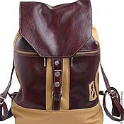 Рюкзаки ручной работы. Ярмарка Мастеров - ручная работа Кожаный рюкзак вишневый с кремовым. Handmade.