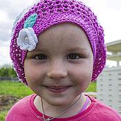 Аксессуары ручной работы. Ярмарка Мастеров - ручная работа Беретка белая розовая вязаная для девочки, детская беретка крючком. Handmade.