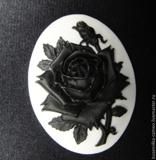 Для украшений ручной работы. Ярмарка Мастеров - ручная работа. Купить Камея Черная роза на белом №2, 30х40мм (пластик) 1шт.. Handmade.