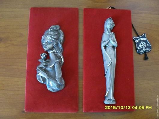 Винтажные предметы интерьера. Ярмарка Мастеров - ручная работа. Купить Мадонны Пара французских миниатюр Цинковое литье на бархате. Handmade.