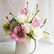 """Цветы и флористика ручной работы. Ярмарка Мастеров - ручная работа Букет """"Кувшин с весной"""". Handmade."""