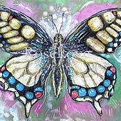 """Картины и панно ручной работы. Ярмарка Мастеров - ручная работа Картина """"Бабочки летают..Бабочки!!""""Желтый розовый фиолето разноцветный. Handmade."""