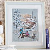 """Картины ручной работы. Ярмарка Мастеров - ручная работа Вышитая крестиком картина """"Хоккейный турнир"""". Handmade."""