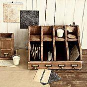 Для дома и интерьера ручной работы. Ярмарка Мастеров - ручная работа Деревянное бюро органайзер для бумаг  Letter Box (4 отдела). Handmade.
