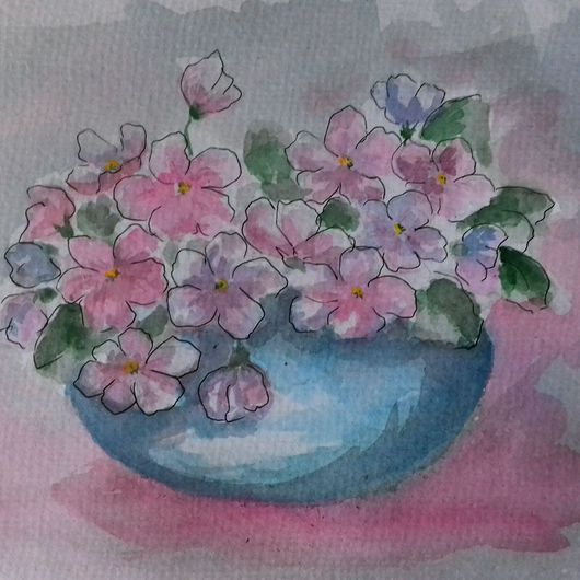 Картины цветов ручной работы. Ярмарка Мастеров - ручная работа. Купить Фиалки. Handmade. Акварель, акварельная, Живопись, цветы, букет