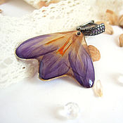 Украшения handmade. Livemaster - original item Earrings with Real Crocus Flowers Lilac Cubic Zirconia Rhodium. Handmade.