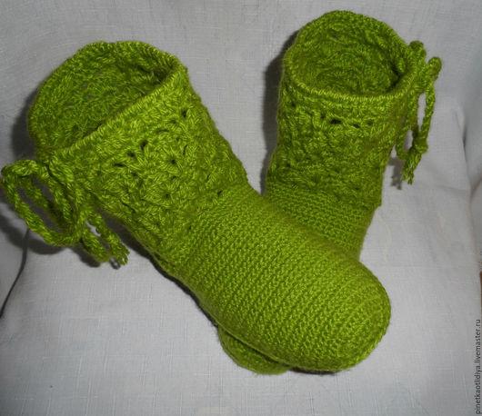 """Обувь ручной работы. Ярмарка Мастеров - ручная работа. Купить Вязаные сапожки """"Зеленое яблоко"""".. Handmade. Ярко-зелёный"""