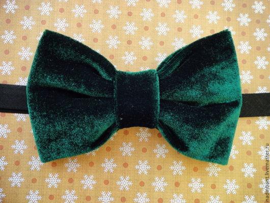 Галстуки, бабочки ручной работы. Ярмарка Мастеров - ручная работа. Купить Галстук бабочка Зеленый Бархат. Handmade. Тёмно-зелёный