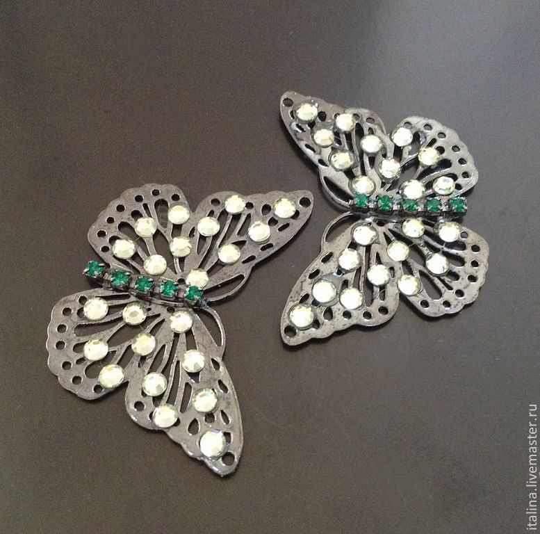 Connector pendant 'Butterfly' art. 3-9 with a glossy rhodium coating, Pendants, Moscow,  Фото №1