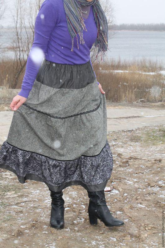 """Юбки ручной работы. Ярмарка Мастеров - ручная работа. Купить Юбка твидовая """"Февраль"""". Handmade. Морская волна, бохо юбка"""