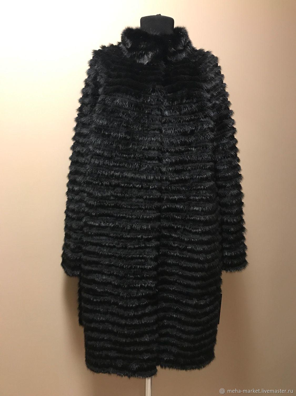 Fur combined coat (black)