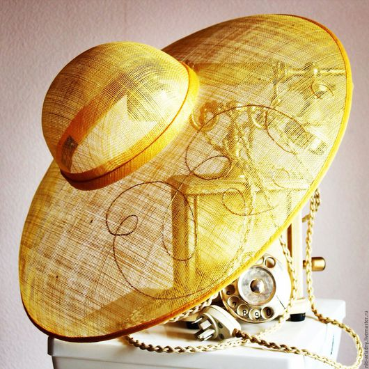 Шляпы ручной работы. Ярмарка Мастеров - ручная работа. Купить Шляпа соломенная с вышивкой. Handmade. Желтый, шляпа с большими полями