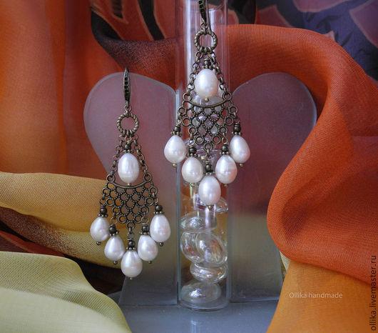 Ажур Бронза III Серьги Металл, Жемчуг подарок женщине девушке, оригинальные серьги, серьги длинные, серьги бронза, серьги бронза и жемчуг, серьги с жемчугом, подарок любимой подруге, серьги сережки дл