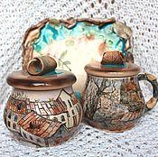 Посуда ручной работы. Ярмарка Мастеров - ручная работа Банки и поднос Дворы керамика. Handmade.