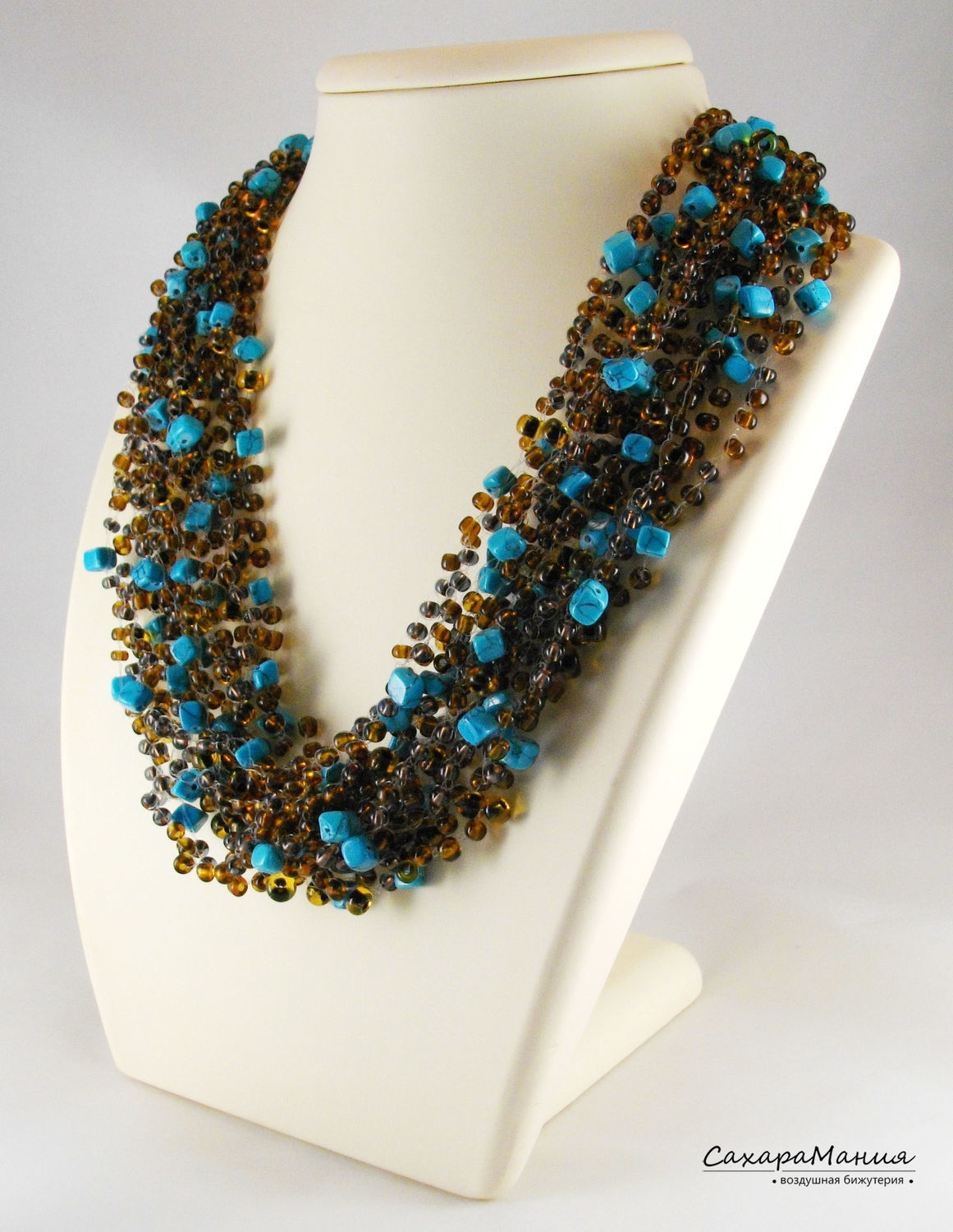 Necklace of natural stone Beautiful jewelry Crochet