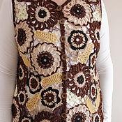 """Одежда ручной работы. Ярмарка Мастеров - ручная работа Жилет """"Коричневые цветы"""". Handmade."""