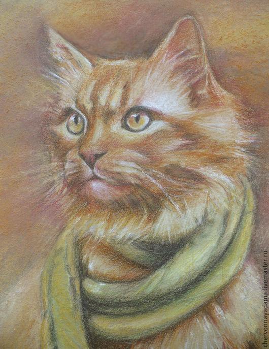 Животные ручной работы. Ярмарка Мастеров - ручная работа. Купить Картина Рыжий кот Осени. Handmade. Кот, цветные карандаши