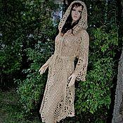 Одежда handmade. Livemaster - original item Knitted coat. hooded. in the fall. of jute.Boho.. Handmade.