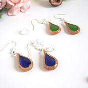 Украшения handmade. Livemaster - original item Earrings Wooden Drops Rainbow Colored Glass Transparent Eco. Handmade.