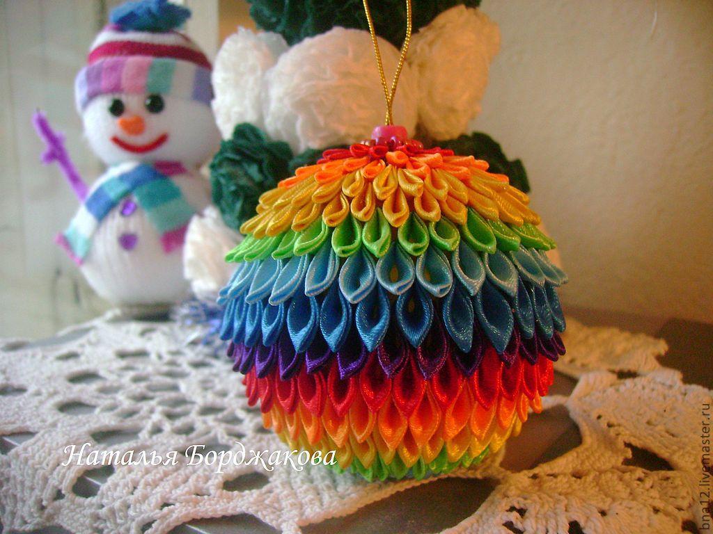 Ёлочные шары своими руками канзаши