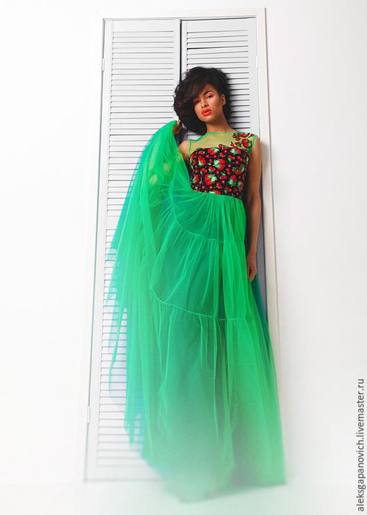 Платья ручной работы. Ярмарка Мастеров - ручная работа. Купить Платье с вишнями.. Handmade. Разноцветный, платье на лето, одежда на лето