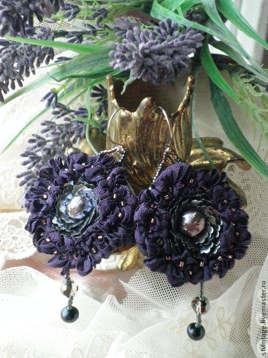 """Серьги ручной работы. Ярмарка Мастеров - ручная работа. Купить Вышитые серьги """"Violet flower"""". Handmade. Серьги, красивые серьги"""
