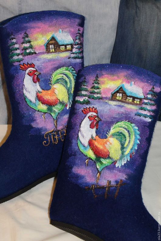 Обувь ручной работы. Ярмарка Мастеров - ручная работа. Купить Зимние петушки. Handmade. Тёмно-синий, валенки, петухи, петух