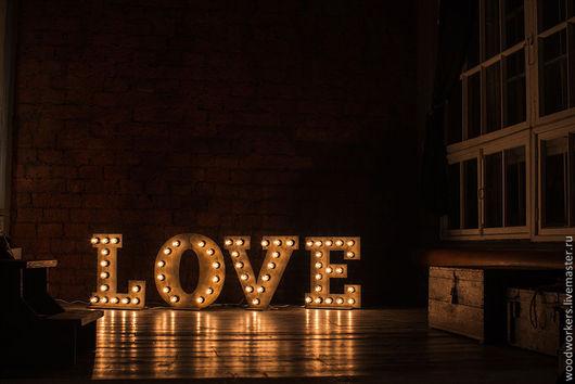 Интерьерные слова ручной работы. Ярмарка Мастеров - ручная работа. Купить Буквы из дерева LOVE с подсветкой. Handmade. Хаки, love