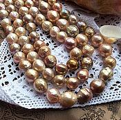 нить - Золотой лавандовый 9,5 - 11.5 мм КАСУМИ