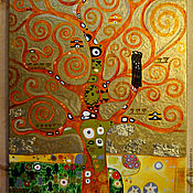Pictures handmade. Livemaster - original item Pattern in gold tones in the style of the symbolism of the Tree of life. Gustav Klimt. Handmade.