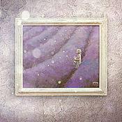 Картины и панно ручной работы. Ярмарка Мастеров - ручная работа картина акрилом Фиолетовый сон (в состаренной раме, лавандовые поля). Handmade.