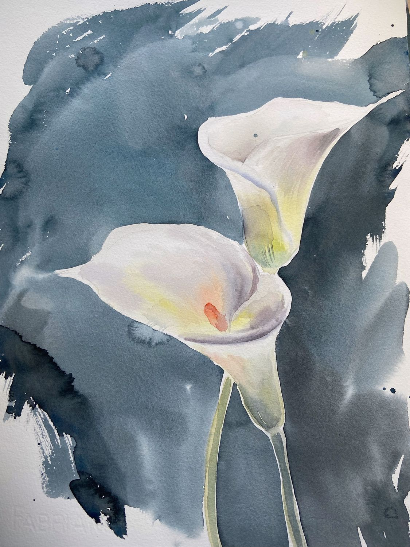 Картина акварелью каллы , картина с цветами, белые цветы картина, Картины, Кемерово,  Фото №1