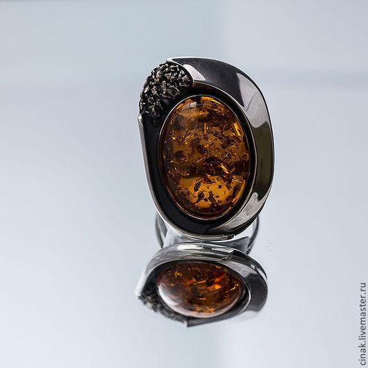 Кольца ручной работы. Ярмарка Мастеров - ручная работа. Купить Серебряное кольцо с янтарем - ЗРЕЛОСТЬ. Handmade. Рыжий, оригинальный кольцо