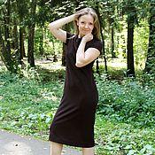 Одежда ручной работы. Ярмарка Мастеров - ручная работа Платье миди из трикотажа ШОКОЛАД. Handmade.
