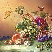 Картины ручной работы. Ярмарка Мастеров - ручная работа Картина маслом Корзинка с виноградом. Handmade.