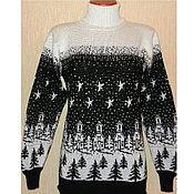 Одежда handmade. Livemaster - original item Knit sweater ornament the night before Christmas. Handmade.