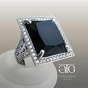 Украшения handmade. Livemaster - original item Ring with black agate and CZ. 925 sterling silver.. Handmade.