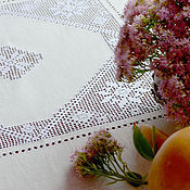 Для дома и интерьера handmade. Livemaster - original item Tablecloth square 140cm, linen, strojeva embroidery, heirloom. Handmade.
