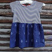 Одежда ручной работы. Ярмарка Мастеров - ручная работа Распродажа. Детское платье в морском стиле. Handmade.