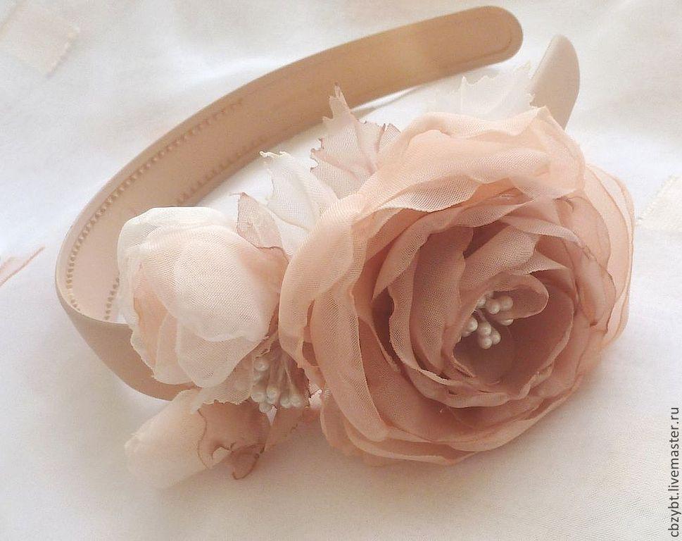 Bezel with peony roses 'Cream-beige', Headband, Yurga,  Фото №1