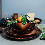 Посуда handmade. Livemaster - original item Wooden plates set of Siberian Cedar dish for kitchen #TN47. Handmade.