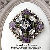 Украшения handmade. Livemaster - original item Brooch with roses from natural amethyst. Handmade.