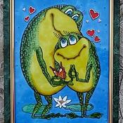 """Картины и панно ручной работы. Ярмарка Мастеров - ручная работа Картина на стекле """"Влюбленные лягушки"""", витражная роспись. Handmade."""