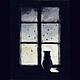 Пейзаж ручной работы. Ярмарка Мастеров - ручная работа. Купить Кошка у окошка. Handmade. Тёмно-синий, черный, кот, окно