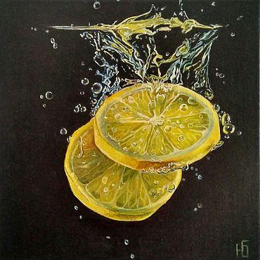 Картины и панно ручной работы. Ярмарка Мастеров - ручная работа Картина маслом Дольки лимона на черном фоне гиперреализм на холсте. Handmade.