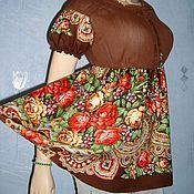 Одежда handmade. Livemaster - original item Blouse from a scarf and Maliki. Handmade.